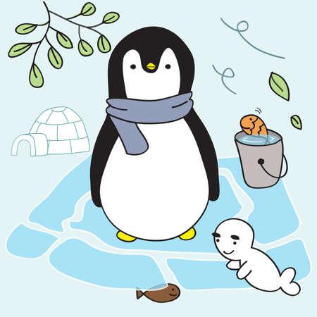 esquimales: pingüino y de los amigos del estilo de vida viven en el hielo en el hogar esquimales
