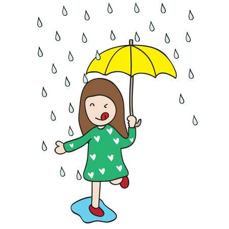 a lovely girl is on a rainy day Illustration