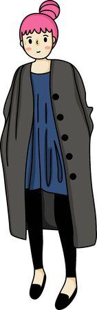 Short pink hostess bun hair style lady in dark coat and black skinny