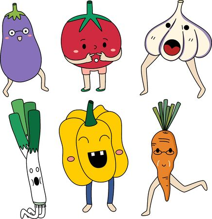 Cute Vegetable set with emotion