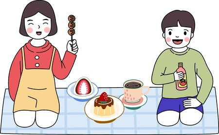 Cartoon of boy and girl enjoy with sweet dessert and tea. Brother and sister love to eat pudding, okonomiyaki and Daifuku Mochi. It's very yummy. Simple cute hand draw line vector and minimal icons flat style Character illustration. Çizim