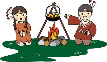 Cartoon of little red Indian are cooking their meal on campfire. Simple cute hand draw line vector and minimal icons flat style character illustration. Foto de archivo - 152868833