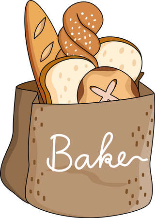 Cartoon of Artisanal handmade bread bakery, Simple cute hand draw line vector and minimal icons flat style character illustration.