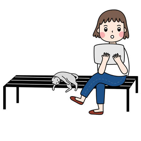 Vector of flat doodle illustration character design of the girl who has short hair and wear jeans pants, white shirt and serve internet with tablet and sit on the black bench with her gray cat in relaxing mode