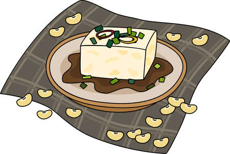 Cartoon of TOFU recipe made from 100% soybean, the menu for vegan lover. Simple cute hand draw line vector and minimal icons flat style character illustration.