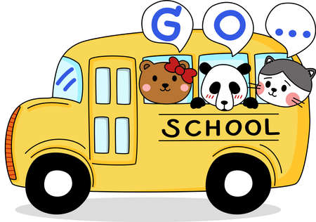 Cartoon of little cute animal go to school by school bus. Simple cute hand draw line vector and minimal icons flat style character illustration. Ilustración de vector