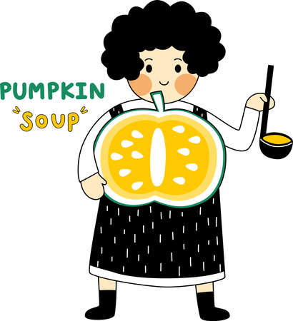 Cartoon of mom is cooking the homemade recipe of pumpkin soup. Simple cute hand draw line vector and minimal icons flat style character illustration.