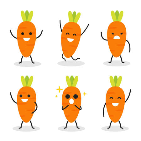 collection of cute carrot character in various pose isolated on white background. flat vector graphic design illustration.
