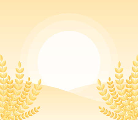 Sunrise behind hill landscape background with golden wheat in minimal and soft color. Vector flat graphic illustration. 矢量图像