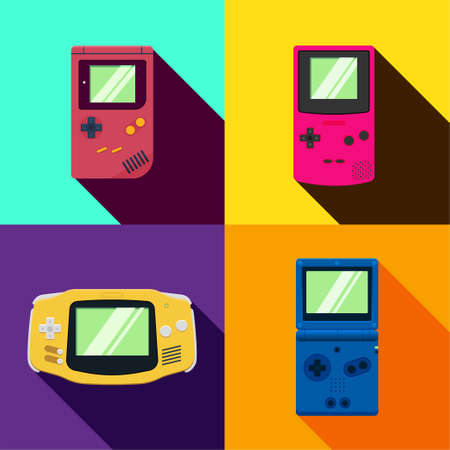 Collection of flat vector graphic design illustration. Retro gamer gadget concept. Set of colorful gaming device. Group of handheld videogame. Entertainment media in childhood.