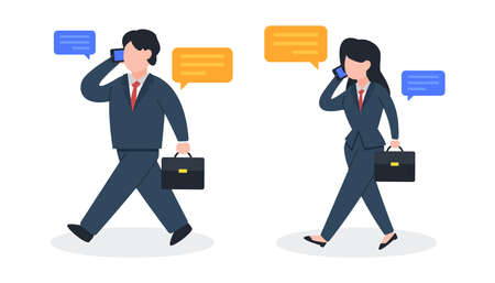 Businessman and businesswoman walks and talks on the phone. The creative concept idea of business contact, communication, or negotiation. Trendy cute vector illustration. Modern flat style character.