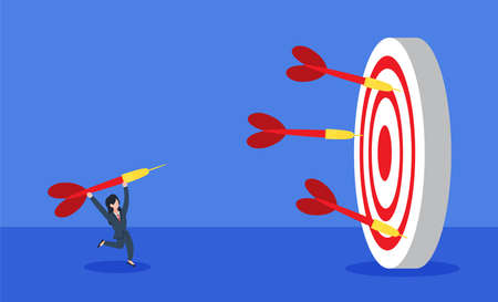 Businesswoman throwing a dart to a dartboard with many fail darts around. The creative concept idea of reaching business target goal or learning from failure. Simple trendy cute vector illustration.