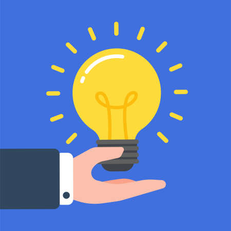 Glowing light bulb floating over a hand of businessman. Creative concept of business idea, solution, innovation, or inspiration. Simple trendy cute cartoon vector illustration. Flat style graphic. Ilustración de vector