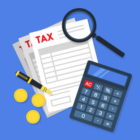 Tax form document papers with a magnifying glass, pen, golden coins, and calculator. Creative financial concept of tax calculation or management. Simple trendy cute vector illustration.
