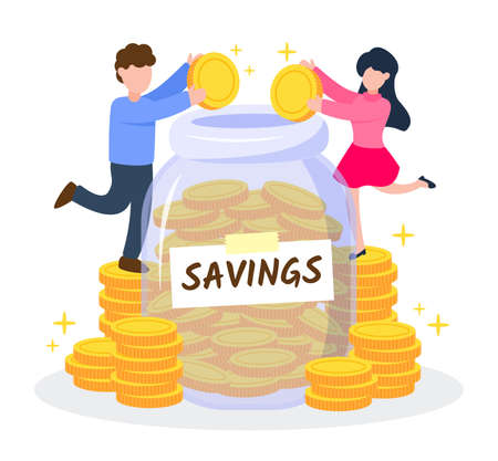 Man and woman putting golden coins into jar. Couple or lover saving money together. Creative financial concept of savings. Simple trendy cute cartoon vector illustration. Flat style graphic design. Vektorgrafik