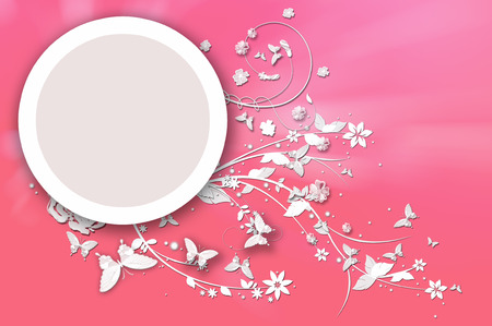 clound: Butterflies and Flowers on the Pink Background with Lafe Circle