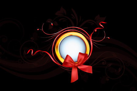 gloden: Gloden Ring And Red Ribbon On Black