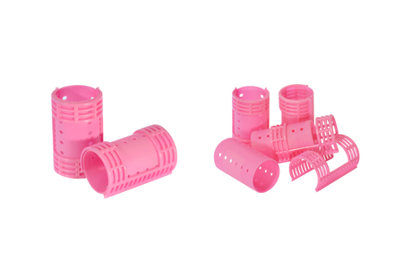 rollers: Shots of isolated hair rollers for doing curled hair Stock Photo