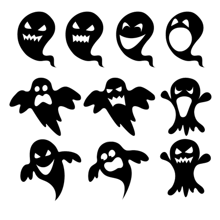 poltergeist: Vector set of black ghosts for halloween