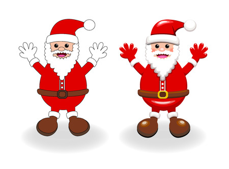 clause: Two vector styles of happy Santa clause