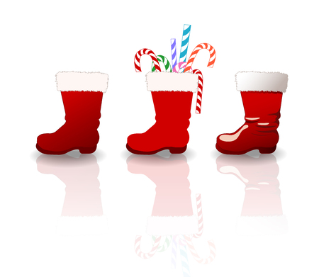 clause: Vector set of santa clause boots Illustration