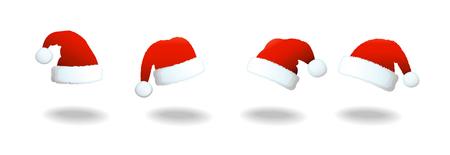 santa claus: Vector set of Santa clause hats