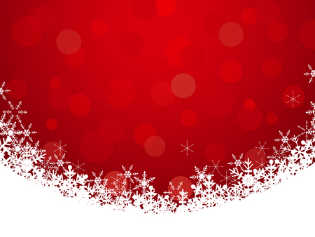 modern frame: Red background with snowflake frame and bokeh, christmas background vector