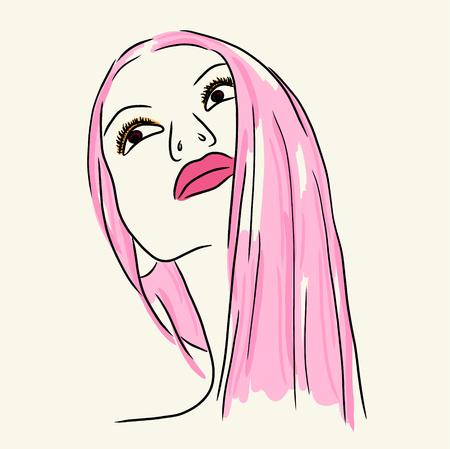 Mujer de moda en los labios de color rosa y el pelo largo, vector