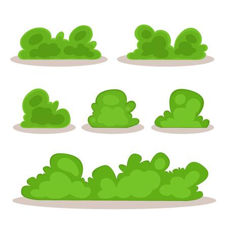 selva caricatura: Conjunto de arbustos en estilo a mano para la decoración en sus obras, dibujos animados vector de Bush
