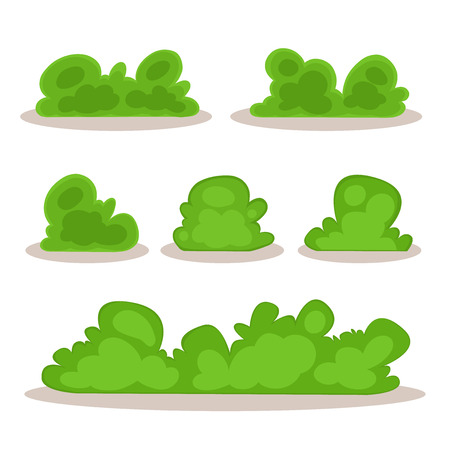 grass: Set of bushes in hand-drawn style for decoration on your works, bush cartoon vector