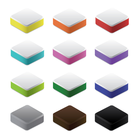 bases: Set of colorful blocks and bases, 3d vector Illustration