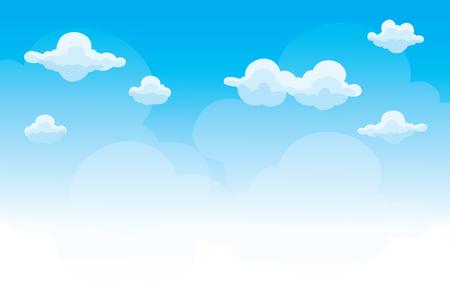 Grupa chmury na błękitnym niebie, tło chmur kreskówek, wektor