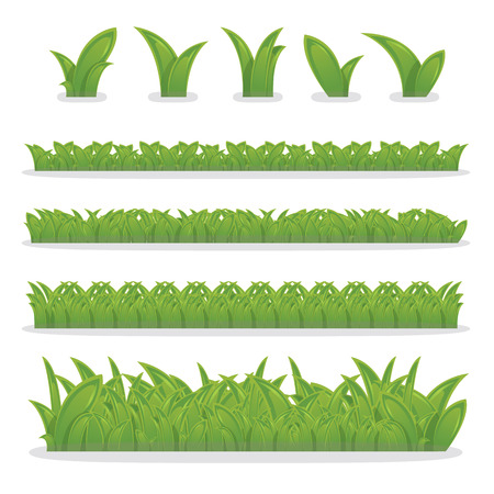 grass border: Collection of green grass, grass border for decoration in your works, vector Illustration