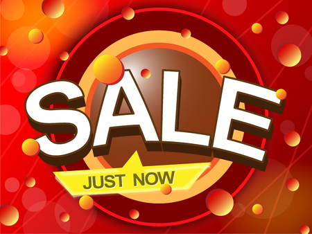 Sale just now in red tone, discount shopping concept vector