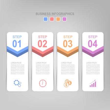 Infographicmalplaatje van vier stappen op vierkanten, markeringsbanner, het werkblad, vlak ontwerp van bedrijfspictogram, vector Stockfoto - 81965021
