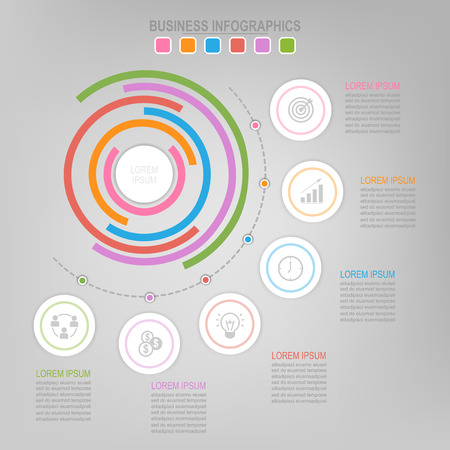 Infographic template of colorful circle, pie chart diagram, work sheet element, flat design of business icon, vector Illustration