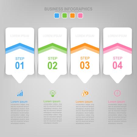Infografisch sjabloon van vier stappen op vierkanten, tag banner, werkblad, vlak ontwerp van bedrijfs icoon, vector