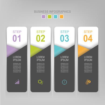 Infografisch sjabloon van vier stappen op vierkanten, tag banner, werkblad, vlak ontwerp van bedrijfs icoon, vector Stockfoto - 81965024