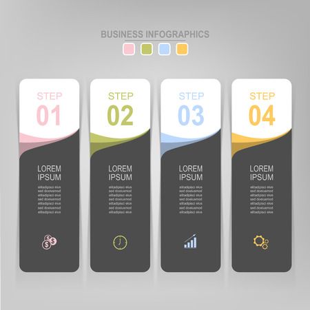 Infografisch sjabloon van vier stappen op vierkanten, tag banner, werkblad, vlak ontwerp van bedrijfs icoon, vector Stockfoto - 81965028