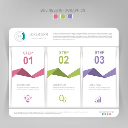 Infografisch sjabloon van drie stappen op vierkanten, tag banner, werkblad, vlak ontwerp van bedrijfs icoon, vector Stock Illustratie
