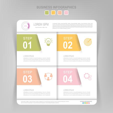 Infographicmalplaatje van vier stappen op vierkanten, markeringsbanner, het werkblad, vlak ontwerp van bedrijfspictogram, vector Stockfoto - 81965045