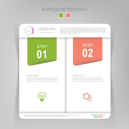 Infografisch sjabloon van twee stappen op vierkanten, tag banner, werkblad, vlak ontwerp van bedrijfs icoon, vector Stockfoto - 81965046