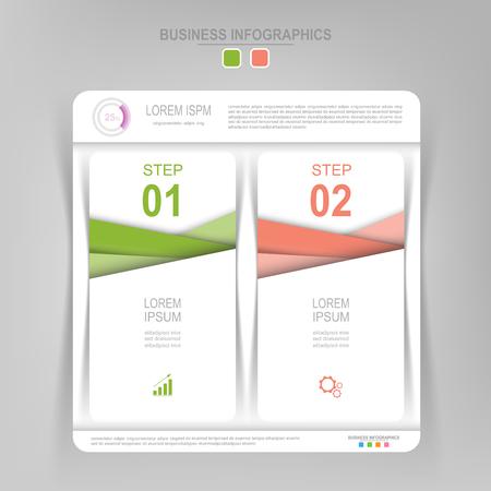 Infografisch sjabloon van twee stappen op vierkanten, tag banner, werkblad, vlak ontwerp van bedrijfs icoon, vector Stockfoto - 81965049