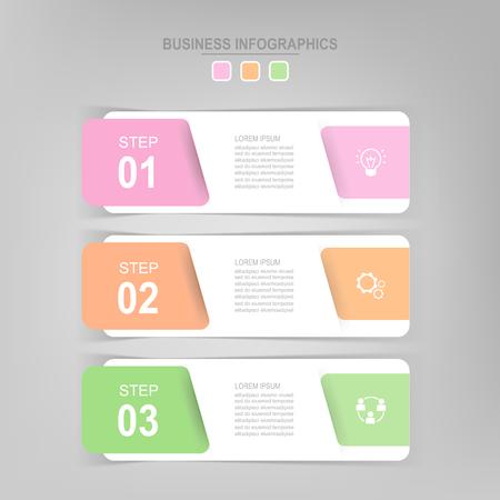 Infografisch sjabloon van drie stappen op vierkanten, tag banner, werkblad, vlak ontwerp van bedrijfs icoon, vector Stockfoto - 81965051