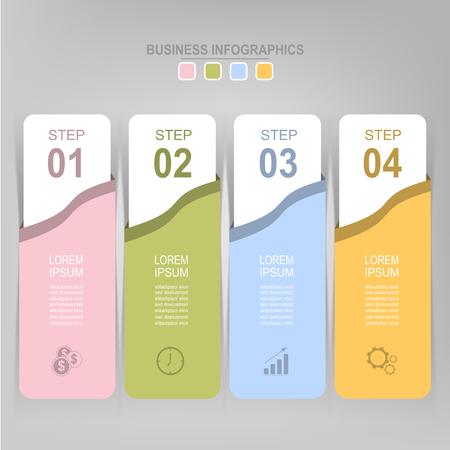 Infographicmalplaatje van vier stappen op vierkanten, markeringsbanner, het werkblad, vlak ontwerp van bedrijfspictogram, vecto