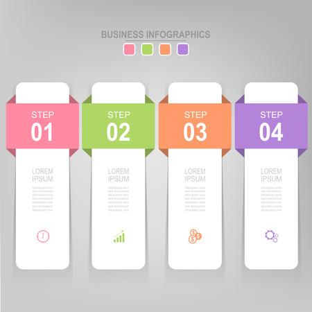 Infographicmalplaatje van vier stappen op vierkanten, markeringsbanner, het werkblad, vlak ontwerp van bedrijfspictogram, vector