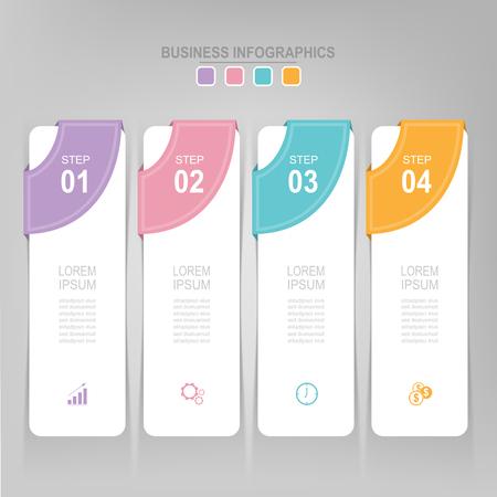 Infographicmalplaatje van vier stappen op vierkanten, markeringsbanner, het werkblad, vlak ontwerp van bedrijfspictogram, vector Stockfoto - 81965260