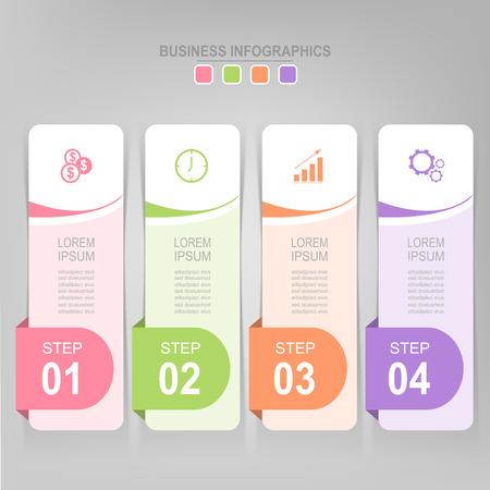 Infographicmalplaatje van vier stappen op vierkanten, markeringsbanner, het werkblad, vlak ontwerp van bedrijfspictogram, vector Stockfoto - 81965261