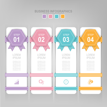 Infografisch sjabloon van vier stappen op vierkanten, tag banner, werkblad, vlak ontwerp van bedrijfs icoon, vector Stockfoto - 81965267
