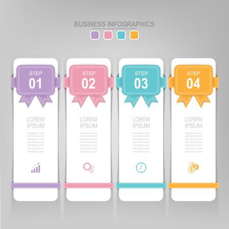 Infografisch sjabloon van vier stappen op vierkanten, tag banner, werkblad, vlak ontwerp van bedrijfs icoon, vector Stockfoto - 81965270